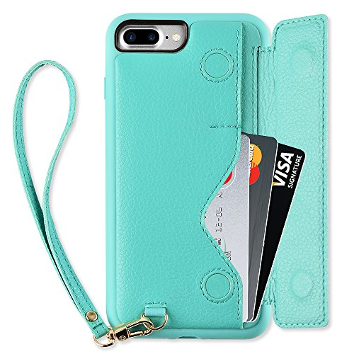 - iPhone 7 Plus Wallet Case, iPhone 8 Plus Card Holder Case, ZVEdeng Shockproof Leather Wallet Case with Credit Card Slot Holder for Apple iPhone 7 Plus/iPhone 8 Plus - Mint Green