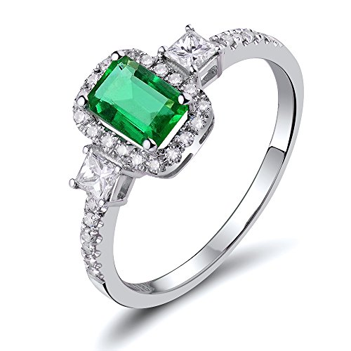 Romantic Columbia Emerald 14K White Gold Diamond Engagement Wedding Ring