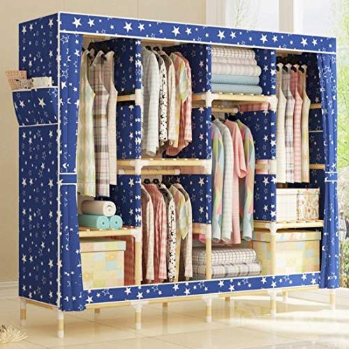 533 Solid Wood Cloth Wardrobe Oxford Cloth Simple Wardrobe Simple Modern economical Assembly Storage Clothes Cabinet (Color : A) by 533