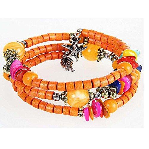 [Luck Wang Woman Retro Ethnic Fashion Shell Beads Hanging Starfish Coconut Wood Braceleta(1#)] (Three Blind Mice Costume Ideas)
