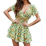 Women Summer Short Dress V-Neck Short Sleeve Floral Vintage Mini Dresses A-Line Swing Casual Garden Picnic Skirt Dress
