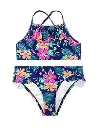 SHEKINI Flounce Back Crisscross Two Piece Bikini Set for Girls