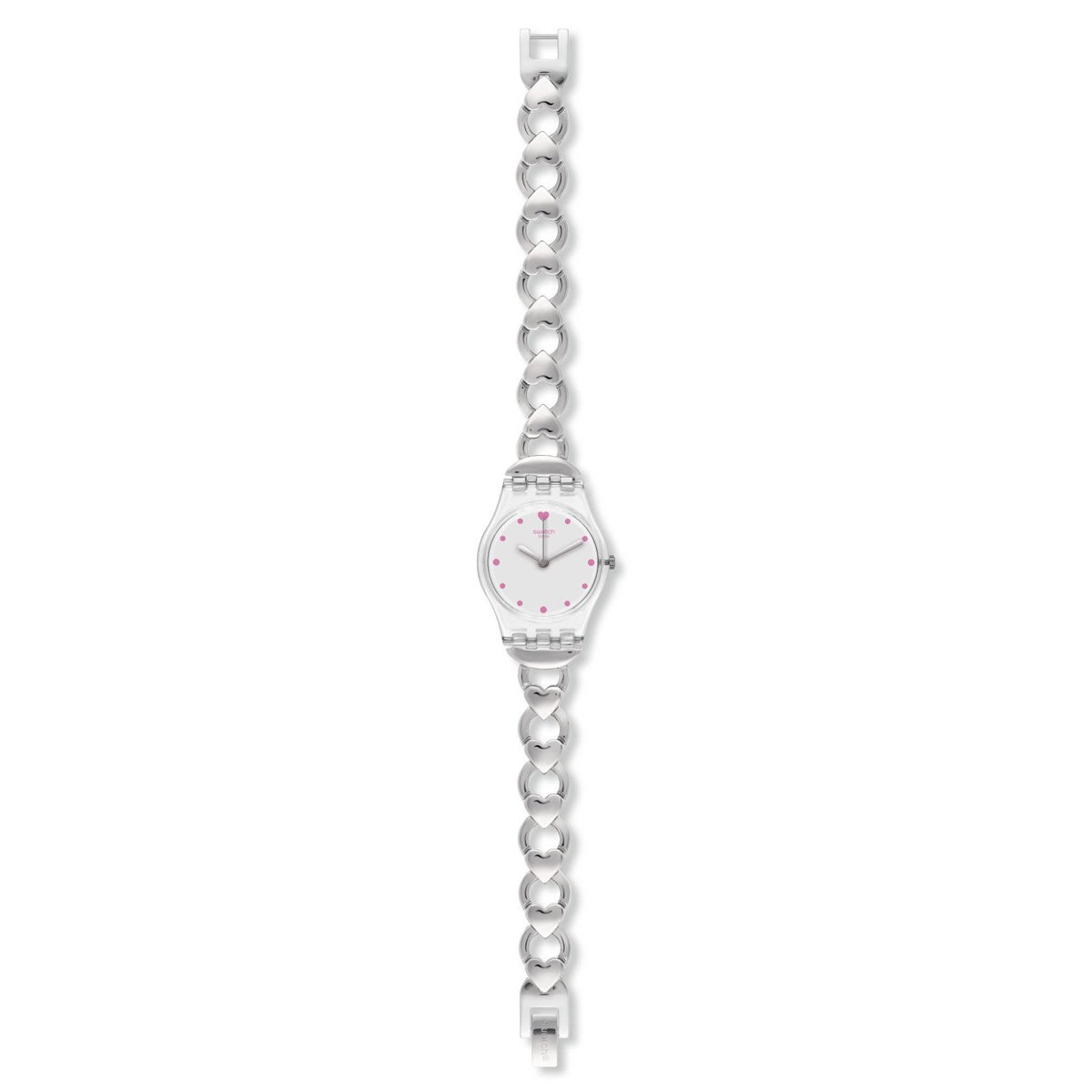 Amazon.com: Swatch LK362G Womens Gamme De Coeur Silver Dial Stainless Steel Charm Bracelet Watch: Watches