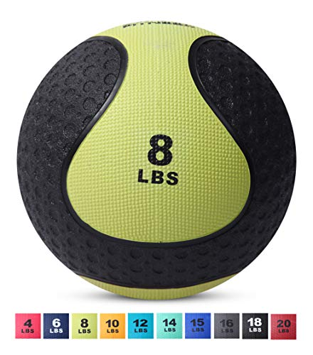 Day 1 Fitness Medicine Exercise Ball with Dual Texture for Superior Grip 8 Pounds - Fitness Balls for Plyometrics, Workouts - Improves Balance, Flexibility, Coordination