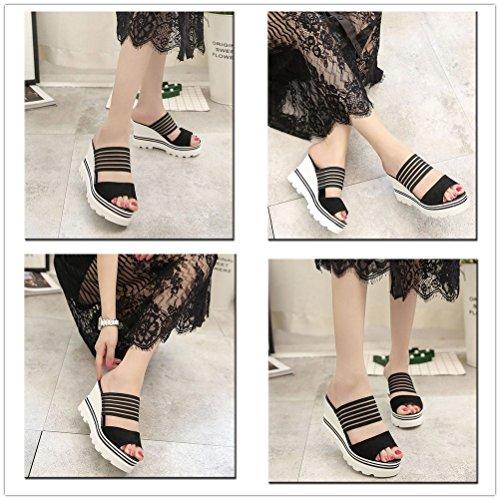Talons Sangle Confortables Coincent Noir À Les Toes D'été Chaussures Sandales Du Mules Bande Sur À Des Peep Décontracté Talon Femmes Glissement v4q41CaO