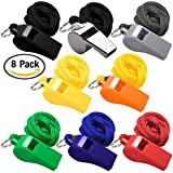 Golvery Coaches Referee Whistle with Lanyard, 7 Colorful Plastic and 1 Metal Whistles for School Sports, Soccer, Football, Basketball and Lifeguard, Survival Emergency Training (8 of Set)