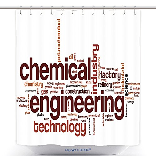 Decorative Shower Curtains Chemical Engineering Word Cloud Concept Words Related To Chemical Engineering And Technology 500308102 Polyester Bathroom Shower Curtain Set With Hooks (Water Related Halloween Costumes)