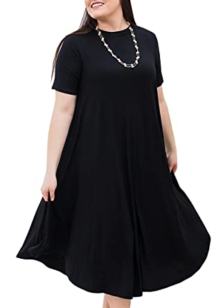 d027efff716 Misassy Womens Summer Plus Size Midi Dresses Casual Short Sleeve Loose  Plain Maternity T Shirt Dress