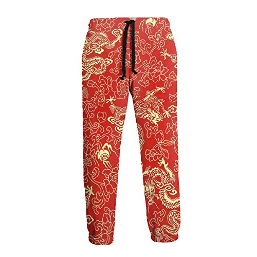 Unisex 3D Printed Sweatpants Chinese Silk with Golden Dragons and Flowers Funny Hip Hop Casual Pants Sports Trousers