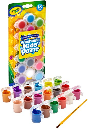 Crayola Washable Kids Paint Set & Paintbrush, Painting Supplies, 18 Count