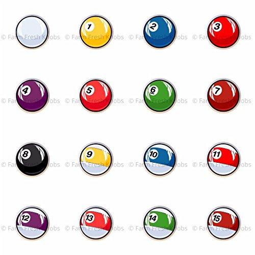 SET OF 16 KNOBS - Pool Ball - Billiard Balls - DECORATIVE Glossy CERAMIC Cupboard Cabinet PULLS Dresser Drawer KNOBS ()