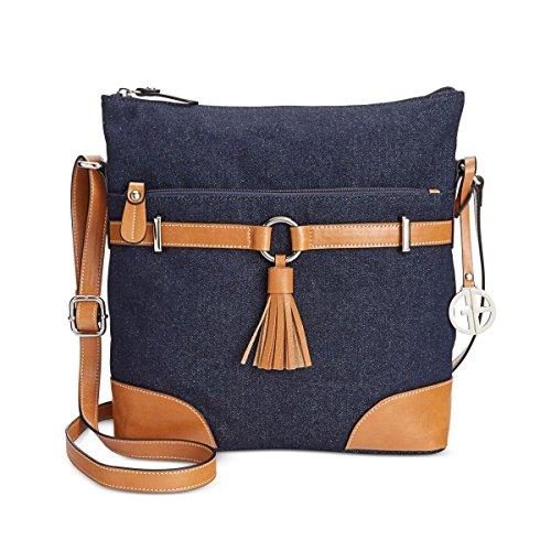 Giani Bernini Womens Woven Faux Leather Trim Crossbody Handbag Denim (Giani Bernini Purse)