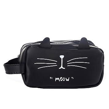 GerTong Estuche de lona simple y creativo, gran capacidad, bonito bolígrafo de papelería para estudiantes, bolsa de regalo, gato negro gato negro ...