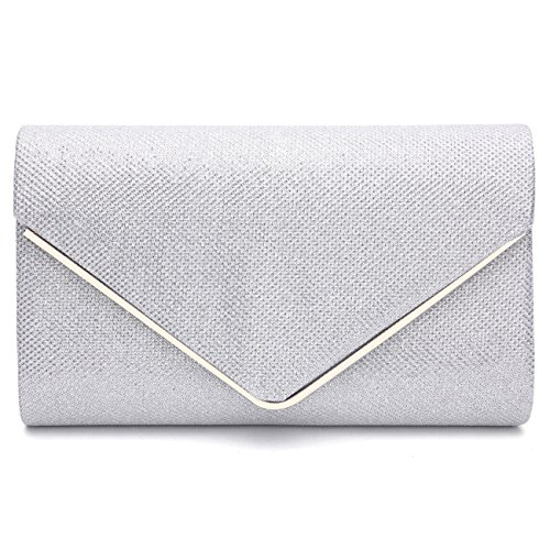 GESU Womens Shining Envelope Clutch Purses Glitter Evening Bag Handbags For Wedding and Party.(Silver-1) ()