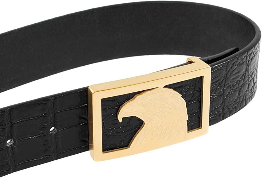 Martino All Leather Belts for Men Full Grain Leather Belt Eagle Superior Brass Buckle With an ELegant Gift Box