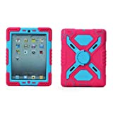 Pepkoo Ipad Mini 1& 2 Case Plastic Kid Proof Extreme Duty Dual Protective Back Cover with Kickstand and Sticker for Ipad Mini 1&2 - Rainproof Sandproof Dust-proof Shockproof (Pink/blue)