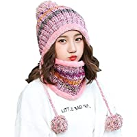 Fleece Lined Women Knit Beanie Scarf Set Girls Winter Ski Hat with Earflap Pompom