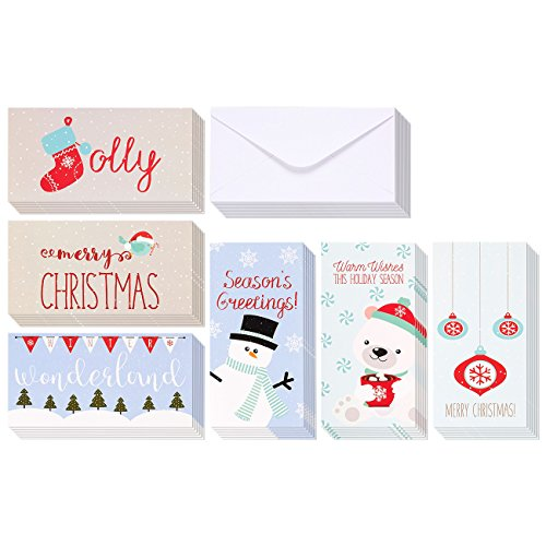 Winter Holiday Money Christmas Greeting Cards - 6 Winter Christmas Designs Including Ornaments, Polar Bears, Stockings, Snowflakes, Merry Christmas, Envelopes Included - 36 Pack - 3.5 x 7.25 Inches (Stationery Christmas Cards)