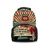 JACINTAN Vintage Car Garage Travel Outdoor Backpacks Women Men
