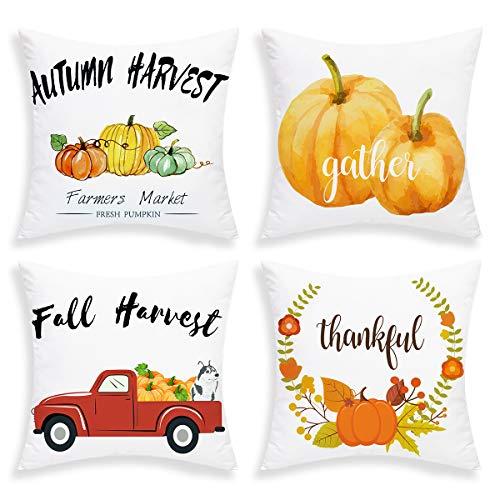 BLEUM CADE Pumpkin Pillow Covers Autumn Harvest Cushion Cover Set of 4 Fall Throw Pillow Cases for Autumn Halloween Thanksgiving Day 18 X 18 Inch -