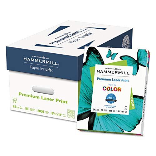 Premium Laser Paper - Hammermill - Laser Print Paper, 24lb, 98 Bright, 8.5 x 11 inches, 500/Ream, 10 Reams