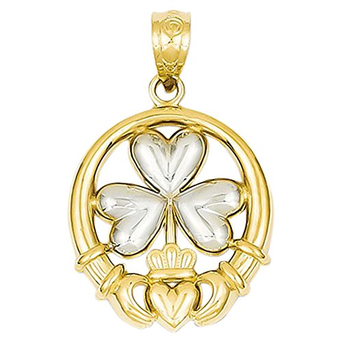 14K Yellow Gold Claddagh with 3-Leaf Clover Shamrock Charm Pendant ()