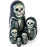 BangBang Set Of 5 Painted Wooden Nesting Russian Dolls Penguins Skeleton