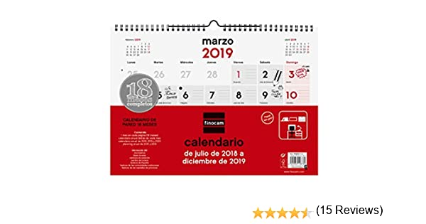 Finocam Calendario pared 18 meses 2018-2019 español: Amazon.es ...