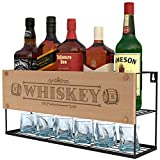 Wall Mounted Whiskey Racks | Bottle & Glass Holder | Whiskey Short Storage | Store Whiskey, Brandy, Сognac | Oak Whiskey Barrel Design | Whiskey Stones Holder | Home, Kitchen, Bar, Restorant Décor For Sale