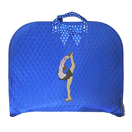 TOP QUALITY Durable Quilted Custom Ice skating Figure Skating Design Garment Bag Luggage Travel or Costume Bag Personalized (Figure Skater, Blue)