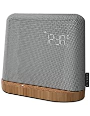 KitSound XDock Qi Charger Wireless Bluetooth Speaker Charging Dock with FM Radio for iPhone 8/X/XS/XR/XS Max, Samsung S6/S7/S8/S9 - Silver/Brown