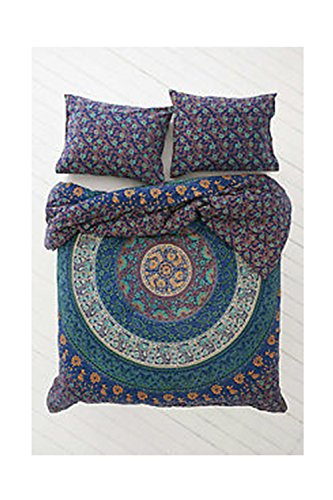 - PinkCityCreations Indian Boho Street Reversible Beautiful Duvet Quilt Cover Coverlet Bohemian Set with Pillow Cover Twin Size 80