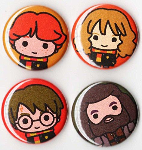 (INNOVA Harry Potter Button Set x4 pin Back 1 inch Chibi Artwork )