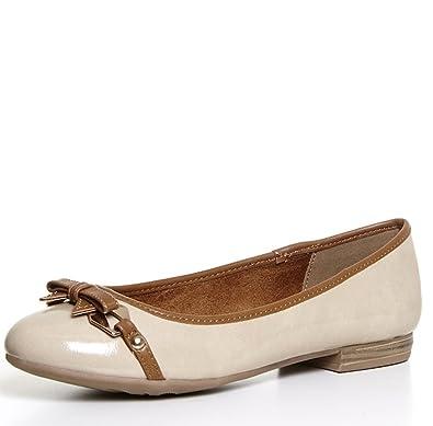 9d26c8bf1893b MARCO TOZZI - Womens Nude Beige Patent Ballerina Flat Pumps w/Tan Brown Trim  &