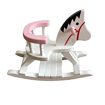 Lumumi Dollhouse Miniature Accessories, White Wooden Rocking Horse Chair Nursery Room Furniture 1:12: Toys & Games