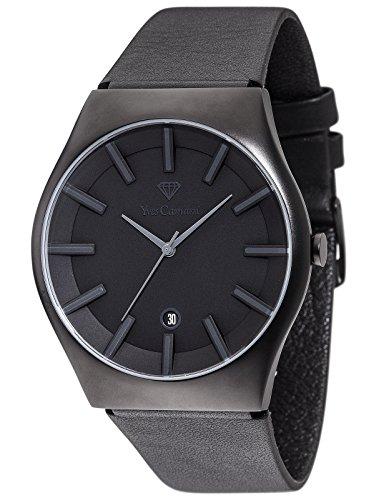 Yves Camani Men's Quartz Watch Loann Black Edition YC1068-F Stainless Steel Leather Strap