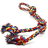 AOSOME 4 Knots XL Dog Rope Toys for Strong Large Dogs Rainbow Extra Sturdy Tug Rope Cotton Washable Puppy Chew Rope Interactive Rope Toys for Large Dog Breeds (26inch 4Knot Rope)