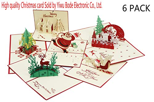 3D Christmas Greeting Cards Pop Up Christmas Cards Handmade Holiday Christmas Greeting Cards From Women, Wife, Girls, Husband, friend Cards,Envelopes&stickers (6 pack 3D pop up Christmas Cards)