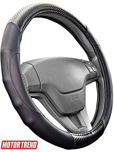 2020 Impala - Motor Trend GripDrive Carbon Fiber Steering Wheel Cover - Universal Fit with Microfiber Leather for Steering Wheel Sizes 14.5 15 15.5 inches (Black)