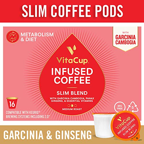 VitaCup Slim Blend Coffee Pods 16ct with Garcinia Cambogia, Ginseng, Vegan, Keto, and Paleo Friendly, Vitamins B12, B9, B6, B5, B1, Compatible with K-Cup Brewers Including Keurig 2.0, Top Rated Cups ()