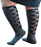 Xpandasox Women's Solid/Lace Knee High Socks10-12 Charcoal