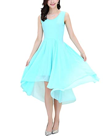 sekitoba-japan.inc a line Sleeveless high Low Dress for Women Sky Blue and