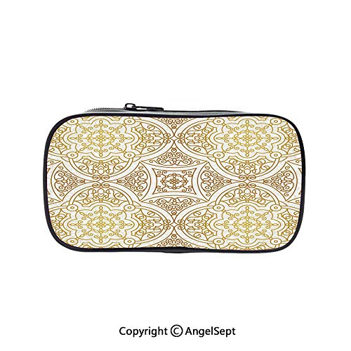 Cute Pencil Case - High Capacity,Victorian Motifs Curled Classical Ethnic Oriental Tile Outline Decorative Gold Yellow White 5.1inches,Multifunction Cosmetic Makeup Bag,Perfect Holder for Pencils -