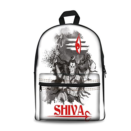 o Kids Back to School Backpack, Canvas Book Bag,Ethnic,Religious Figure of Ethnic Religion Holding Trident Red Eye on Stripes Artistic,Grey Red White. ()