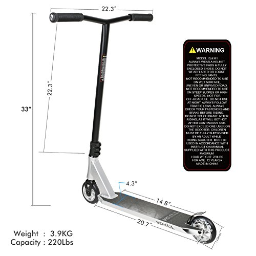 VOKUL K1 Complete Pro Scooter for Kids Boys Girls Teens Adults Up 7 Years - Freestyle Tricks Pro Stunt Scooter with 110mm Metal Wheels - High Performance Gift for Skatepark Street Tricks by VOKUL (Image #4)