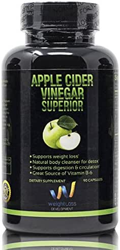 Apple Cider Vinegar Pills Capsules - Natural Weight Loss Cleanse Detox Diet Supplement - Burn Fat and Clean Your Digestive System - Remove Excess Water and Detoxify - 90 Tablets