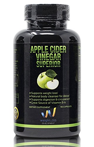 (APPLE CIDER VINEGAR Pills Capsules - Natural Weight Loss Cleanse Detox Diet Supplement - Burn Fat and Clean Your Digestive System - Remove Excess Water and Detoxify - 90)
