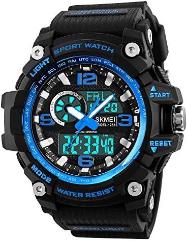 Mens Analog Digital LED 50M Waterproof Outdoor Sports Watch Military Multifunctional Casual Dual Display 12H / 24H Stopwatch Calendar Wrist Watch
