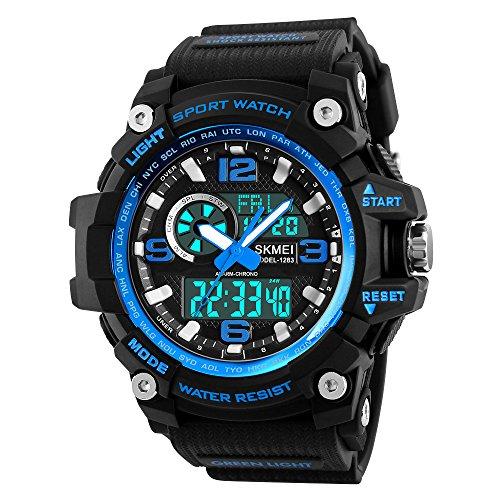 - Mens Analog Digital Watch Military Waterproof Wrist Watches Outdoor Sport Multifunction Casual Dual Display 12H/24H Stopwatch Calendar Watch - Large Black Blue