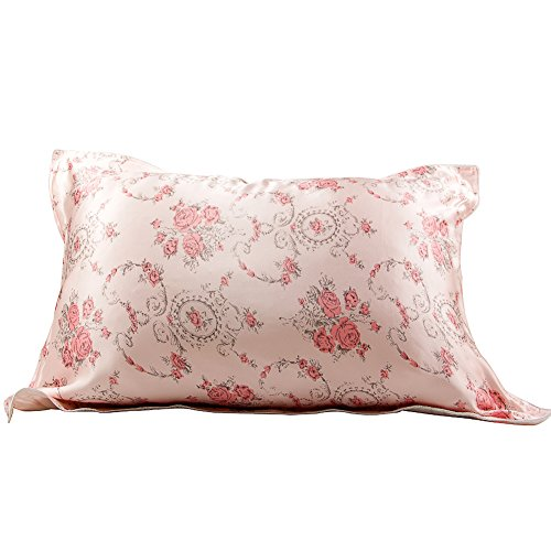 IBraFashion Silk Pillowcase for Hair and Skin Beauty Pink Roses Print Girl Silk Pillowcase (New Style Warmer Element)